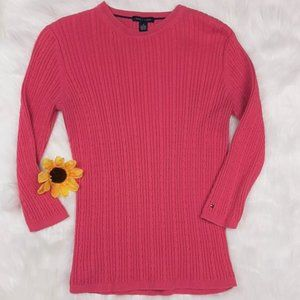 Tommy Hilfiger Pink Cable Knit Sweater Medium